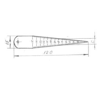 Линейка конусная 0-15мм, металл.