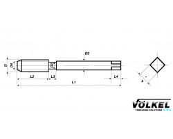 Метчик HSS-E G (BSP) 1/8х28 маш. (36992) с белой полосой винтовой канавкой VOLKEL