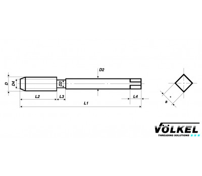 Метчик HSS-E М 4 маш. (32061) с винтовой канавкой VOLKEL