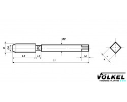 Метчик HSS-E UNC 1/2х13 маш. (35949) с белой полосой VOLKEL